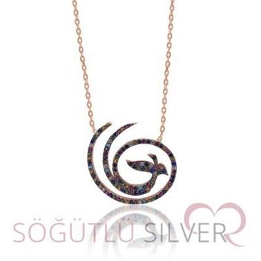 Söğütlü Silver Anka Kuşu Kolye Renkli